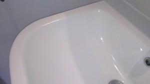 Cracked bathroom sink repaired