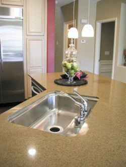 Polished corian worktop