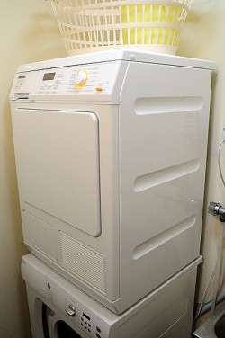 Choosing a Dryer that produceses less moisture into the room can help avoid damage to your kitchen