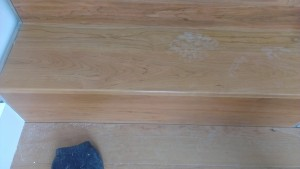 Wooden floor repair after restoration to cherrywood timber tred