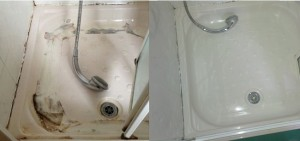 London cracked plastic shower tray resurfaced